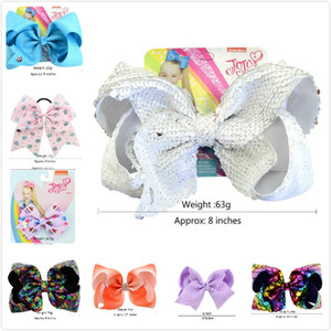 Jojo Siwa Hair Bow Multicolor avec pinces Papercard filles métal géant arc-en-cheveux strass Accessoires Mix Whosale