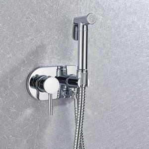 Brass Chrome Handheld Bidet Toilet Sprayer Head Portable Bidet Shower Set Wall Mounted Hot Cold Water Bidet Mixer Faucet
