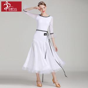 Weiß und Hellgrün Ballsaal lange Kleid für Frauentanz Walzer Tango-Tänzer Bühnenproduktionen Kostüm Mordern Tanzkleidung A0040