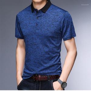 Color de manga corta floja Hombre Polos Hombre gira el collar abajo Tops diseñador del Mens Camisetas sólidas