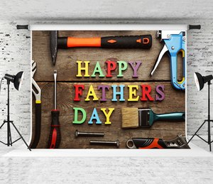 Rêve 7x5ft Bonne fête des pères outils de travail Toile de fond Contexte Photographie en bois pour la fête des pères fête de vacances Fond Shoot Studio Prop