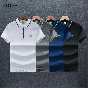 Los diseñadores Camiseta del polo jefes de los hombres de negocios de moda bordado de la letra Polo Hugo Limited color sólido alta calidad de encargo camisa B011
