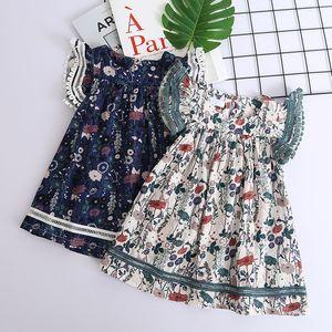 новое платье для девочек Flower Детская одежда 2019 Летняя мода Без рукавов цветочные Детское платье Lovely and sweet 2colour