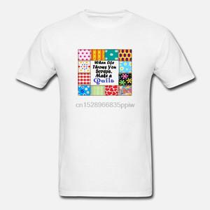 Hombres camiseta de Quilter camiseta Cuando la vida le lanza Recortes edredones (1) camisetas Mujeres-camiseta