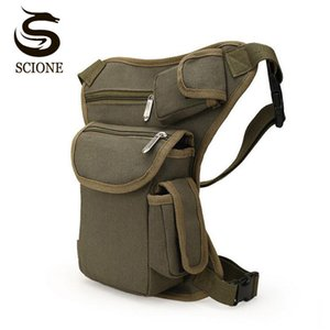 New Canvas Men cintura sacos Preto vintage Brown Bag Belt cintura pack Drop Shipping Top Quality Retro Multifunction Leg Bolsa MX176
