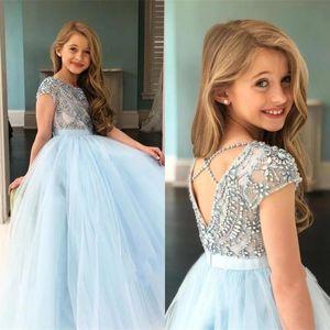 Shining Sky Blue Beaking Flower Girls Dresses Crystal Backless Cap Sleeve Tulle Girls Pageant Abiti Vestidos de Desfile De Niñas