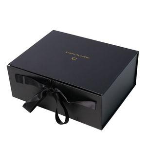 Luxe magnétique Papier vin d'emballage Boîte cadeau avec ruban de soie poignée Lusury emballage coffret cadeau