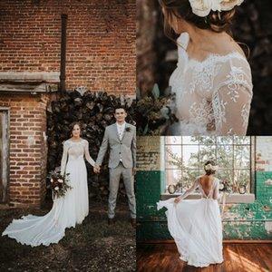 2020 Vintage Beach Bohemain Vestidos de novia Apliques de encaje Bateau Vestido de novia Tren de barrido de gasa Vestidos de fiesta de boda de talla grande Baratos