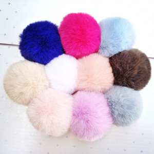 Fur Ball Keychain Accessories 8 CM Soft Pom Poms Keyring Tool Lovely Ball for Keychain Bag Charm Knitted Hat Accessories TTA1746