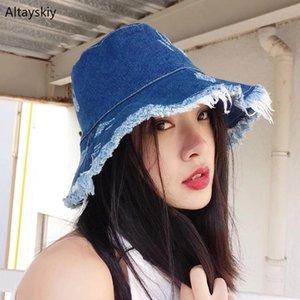 Bucket Chapéus Mulheres Sun sombreamento exterior Verão Simples Tassel denim lavado Fisherman Hat Womens coreano Estilo All-match Casual Chic
