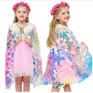 Mädchen Meerjungfrau Cosplay Poncho Regenbogen Pailletten Nette Prinzessin Mantel Tanzleistung Kleidung Kinder Hochzeit Weihnachten Bühnenkostüm