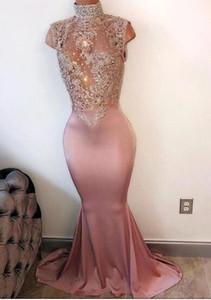 2019 sirène rose robes de bal long col haut perles sans manches dentelle-Appliques cristal perles 2K17 robe de soirée robes BA4598