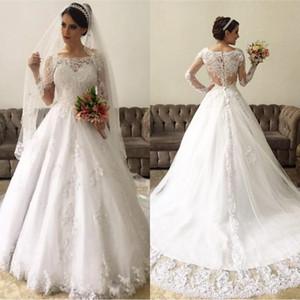 Erstaunliche Spitze-lange Hülsen-Ballkleid-Hochzeits-Kleider 2020 Illusions-rückseitige Hochzeits-Kleider