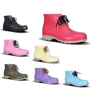 Fuerte y durable de PVC Botas de lluvia de seguro de bajo Trabajo zapatos de punta de acero zapatos con punta de Rojo Violeta Rosa Amarillo Negro Verde Oscuro Hombres 38-44