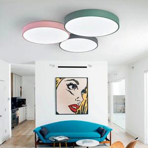 Moderna ultra-delgado simple Macaron colorido techo de luz LED de la lámpara LED 5cm Delgado Negro Blanco hierro redondo plana dormitorio de la lámpara de techo