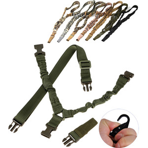 Tactical Nylon Camera strap One Single 1 Point Rifle Gun Sling Airsoft Adjustable length Bungee strap with enlarged metal clip Hook