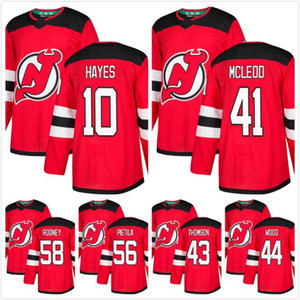 Mens 2018 New Jersey Devils Michael McLeod 43 Thomson 44 Miles Wood 58 Kevin Rooney 56 Blake Pietila Jimmy Hayes Hockey Jersey Red