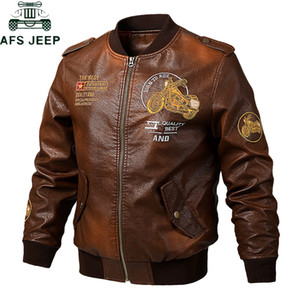 2019 Embroidery Bomber Pilot Leather Jacket Men Plus SIze 5XL Outdoor Tactical Vintage Motorcycle Pu Leather Baseball Coat Jaqueta Couro