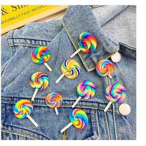 8 stili Colorful Rainbow Lollipop Spilla Candy Distintivo cappotto maglione vestito dal rivestimento Pin Spille Donne Uomini sveglie Pins