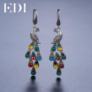 EDI красочные драгоценный камень женские длинные серьги ювелирные изделия Феникс павлинье перо с богемной этнический стиль из Индии