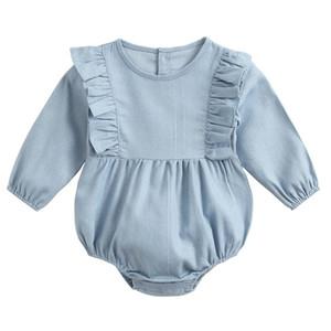 Pamuk Kız Bebek Tulumu Yeni Geliş Uzun Kollu Romper Bahar 2020 Küçük Kız Denim Romper 19081502
