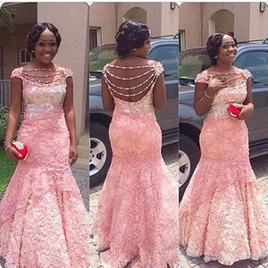 Elegant Aso Ebi Pink Lace Evening Dresses 2019 Black Girl Off The Shoulder Mermaid Party Gowns Zipper Back Custom Made Party Gowns