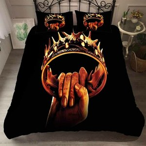Crown Bedding Set Game of Thrones mode Housse de couette classique Vintage Roi Reine Simple Double Twin lit complet avec couverture Taie