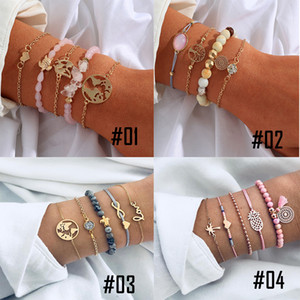 2020 European and American hot metal style women's bracelet set, popular acrylic beads, banquet Bracelet five piece set