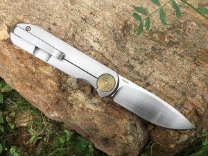 US LOCAL SHIPPING !! GARETH BULL SHAMWARI KNIVES FRONT FLIPPER M390 BLADES GOLD ANODIZED TITANIUM POVIT HANDLE POCKET TACTICAL FOLDING KNIFE