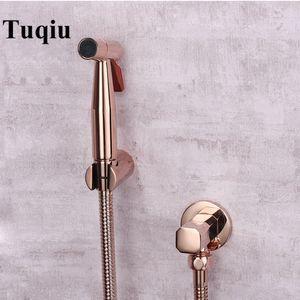 Tuqiu Hand Held Bidet Sprayer Douche Toilet Kit Rose Gold Brass Shattaf Shower Head Copper Valve Set Jet Bidet Faucet Set Y200321