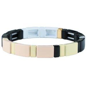 KELITCH Emaille-Elastizität-Armband-Armband für Männer Frauen Stacking-Legierung Tile Armband Pulsera einfacher Art-Schmuck