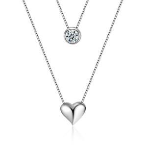 Mode Estampillé 925 Collier Double Couche Chaîne Zircon Coeur Pendentifs Colliers Pour Femmes Choker Cadeau Saint-Valentin