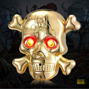 Colorido fantasma del hueso del cráneo de aleación de zinc USB encendedor electrónico horror Iluminar los ojos de sonido cíclico de carga para la pipa de fumar cigarrillos regalo