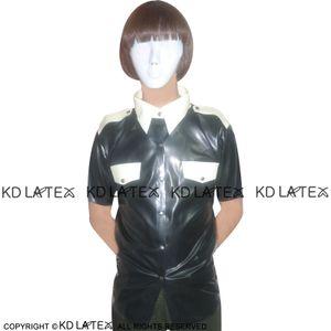 Черный с белым Планки Sexy Latex Military Uniform Фетиш Rubber рубашка Плюс Размер Мужской +2017 Hotsales YF-0001