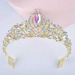 Диадема Gold AB Цвет Свадебные прически для невесты Кристалл Стразы женщин коронок с гребенчатой Jewelry Люкс головной убор волос Диадема