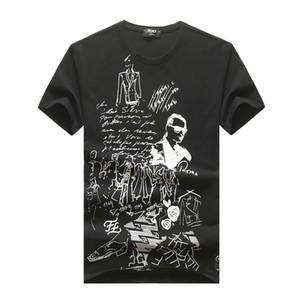 20SS karl Kollage imprimir T-shirt de manga curta em torno do pescoço de verão solta a camisa dos homens Pure branca de mangas curtas t-shirt dos homens seção fina camisa