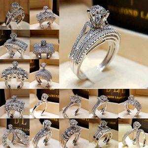 anillo de diamante del anillo de combinación Zirconia cúbico de la corona del anillo de bodas Conjunto Wrap novia anillos de joyería de moda Will y Sandy de DropShip 080396
