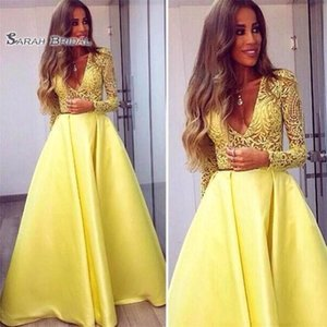 New V neck Lace Dresses Evening Wear Prom Party Dresses Elegant Yellow Long Sleeves Evening Gowns