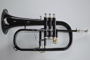 Único Negro Bb Trompeta Bell de cobre amarillo de la alta calidad del instrumento musical profesional con el caso Accesorios envío