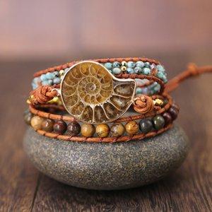 Ammonites Fossiles Seashell charme escargot Bracelet wrap main Ocean Reliquiae Conch animaux boho Bracelet braied pour Menwomen Y200107