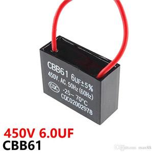 CBB61 fan Zündkondensator 450VAC 6UF mit Leitungskapazität Leitungslänge 10CM