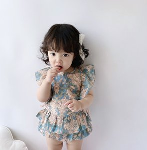 INS New Baby exquisite flowers embroidery romper toddler kids lace bows falbala fly sleeve rompers newborn kids cotton soft clothes A2979