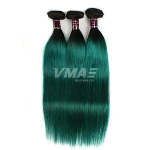 VMAE Brezilyalı İnsan saç örgüleri 3 Paketler Doğal Yumuşak Düz Atkı İki Ton # 1B / Yeşil Ombre Rengi Bakire Saç Uzantıları