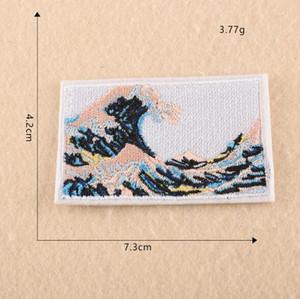 20P-2 Auf Lager Mode japanischen Ukiyo-e ukiyoe Eisen auf Flecken Karikaturwal gestickte nähen auf Flecken für KIDS Kleidung kann Kunden-Design
