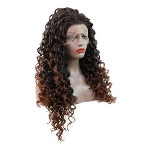 20 Inch Lace Front Long Curly Full Wig Heat Resistant Synthetic Hair Wigs