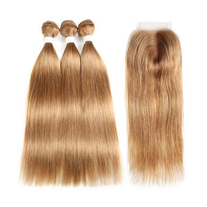 Silky Straight Hair Bundles With Lace Closure Honey Blonde Hair Extensions Virgin Peruvian Hair with Lace Closure 4x4 Free Part