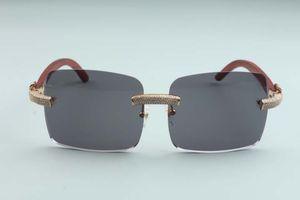 2020 горячие продажи большие квадратные линзы микро-проложить алмазы солнцезащитные очки оригинальные деревянные храмы L-3524012-d, размер: 56-18-135 мм