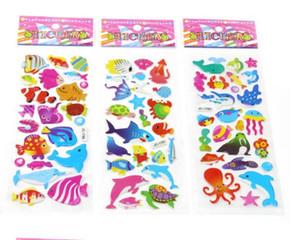 100 pcs Mix peixe Adesivos para Crianças Animal PVC Inchado Do Professor Da Escola Do Bebê Presente de Recompensa