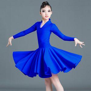 New Latin Dance Dress Girls Rumba Cha Cha Samba Salsa Tango Dancing Practice Clothing Children Modern Performance Wear DN5219