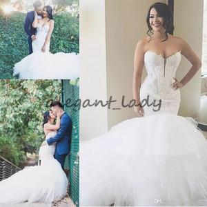 Sweetheart della sirena del merletto di Tulle Abiti da sposa Slim Puffy Garden Abiti da sposa 2018 Plus Size Bridal Gowns Dalla Cina